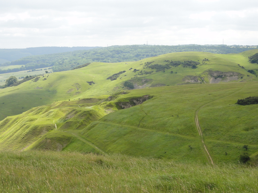 Old quarries and terracing on Cleeve Hill