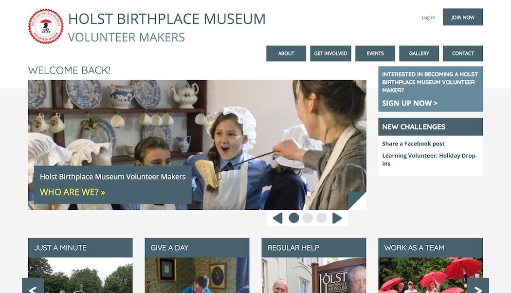 Home page of Holst Volunteer Makers website